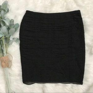 Ann Taylor Black Sheer Rouched Overlay Mini Skirt